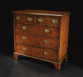 Furniture, An English Oyster Veneered Five Drawer Chest. Unknown maker, English. Eighteenth Century. Various woods, brass. Unmarked. ...