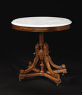 Furniture : American, A Victorian Walnut Oval Marble Top Occasional Table. Unknown maker, American. Circa 1870. Walnut, marble. Unmarked. 29 inc...