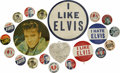 "Music Memorabilia:Memorabilia, Elvis Presley Vintage Charm and Assortment of Pinback Buttons.Includes a heart-shaped Elvis charm, a 3.5"" ""I Like Elvis"" pi..."