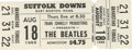 Music Memorabilia:Tickets, Beatles Suffolk Downs Ticket. In 1966, there were rumors afoot thatthe then-current Beatles tour was going to be their last...
