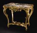 Furniture, A Continental Louis XV Pierce Carved Gilt Marble Top Table. Unknown maker, Continental. Circa 1760. Giltwood, marble. Unma...