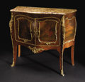 Furniture: French, A French Bombe Bronze Mounted Hand Painted Commode. Unknown maker,French. Nineteenth Century. Various woods. Unmarked. 36...