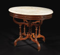 Furniture : American, An American Victorian Walnut Oval Marble-Top Center Table. Unknown maker, American. Undated. Walnut, marble. Unmarked. 30 ...