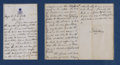 "Autographs:Non-American, Kalakaua Manuscript Letter Signed ""Kalakaua"" as King ofHawaii, 2.5 pages, 5"" x 8"", separate sheets. [Hawaii], c. 1874-1..."