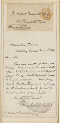 "Autographs:Authors, Charles Dickens Autograph Letter Signed ""Charles Dickens,"" one page, 4.5"" x 7"". Devonshire Terrace, Saturday March 2, 18..."