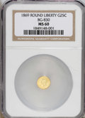 California Fractional Gold: , 1869 25C Liberty Round 25 Cents, BG-830, High R.5, MS60 NGC. PCGSPopulation (0/17). (#10691)...