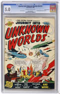 Golden Age (1938-1955):Science Fiction, Journey Into Unknown Worlds #36 (#1) Canadian Edition (Atlas, 1950)CGC VG/FN 5.0 Off-white to white pages....