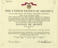 """Autographs:U.S. Presidents, Franklin D. Roosevelt Legion of Merit Document Signed as president.One page, 12"""" x 10"""", partly printed, with war office bli..."""