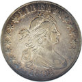 Early Half Dollars: , 1802 50C --Cleaned--ANACS. XF40 Details. O-101, R.3, the only dies.Golden-brown and aqua-blue embrace the obverse border, w...