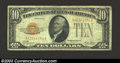 Small Size:Gold Certificates, 1928 $10 Gold Certificate, Fr-2400, Fine+. This is a well ...