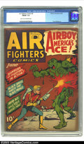 Golden Age (1938-1955):War, Air Fighters Comics V1#9 (Hillman Fall, 1943) CGC FN/VF 7.0 Lighttan to off-white pages. Airboy, flamethrower cover. Tony D...