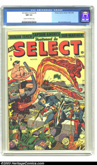 All Select Comics #5 (Timely, 1944) CGC NM 9.4 Cream to off-white pages. Alex Schomburg cover. Last Sub-Mariner. Highest...