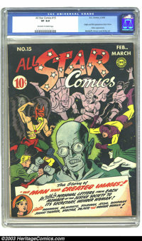 All Star Comics #15 (DC, 1943) CGC VF 8.0 Off-white to white pages. Origin and first appearance of Brain Wave. Shiera ap...