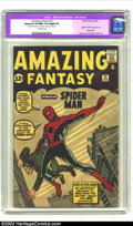 Silver Age (1956-1969):Superhero, Amazing Fantasy #15 (Marvel, 1962) CGC Apparent VF/NM 9.0 Slight(P) Off-white pages. Origin and first appearance of Spider-...