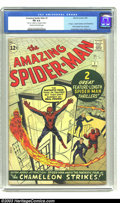 Silver Age (1956-1969):Superhero, Amazing Spider-Man #1 (Marvel, 1963) CGC FN 6.0 Cream to off-white pages. First appearance J. Jonah Jameson and the Chameleo...