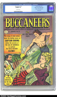 Buccaneers #25 Mile High pedigree (Quality, 1951) CGC VF/NM 9.0 Off-white pages. Edgar Church's copy, featuring the firs...