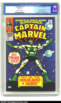 Captain Marvel #1 (Marvel, 1968) CGC NM- 9.2 Cream to off-white pages. Gene Colan and Vince Colletta art. Story continue...