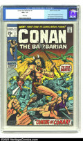 Bronze Age (1970-1979):Superhero, Conan The Barbarian #1 (Marvel, 1970) CGC NM+ 9.6 White pages. Theorigin and first appearance of Conan, with Barry Windsor-...