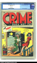 Golden Age (1938-1955):Crime, Crime Does Not Pay #43 (Lev Gleason, 1946) CGC VF+ 8.5. Gruesome Charles Biro cover kicks off this issue, featuring art by R...