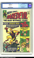 "Silver Age (1956-1969):Superhero, Daredevil #1 (Marvel, 1964) CGC VF/NM 9.0 Off-white pages. Originand first appearance of Daredevil ""The Man Without Fear."" ..."