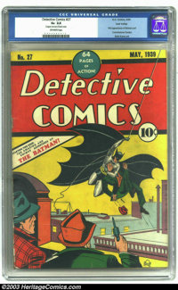 Detective Comics #27 Lost Valley pedigree (DC, 1939) CGC GD+ 2.5 Off-white pages. Second most valuable Golden Age comic...
