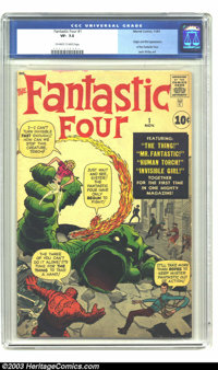 Fantastic Four #1 (Marvel, 1961) CGC VF- 7.5 Off-white to white pages. The Marvel Age of Comics begins right here in thi...