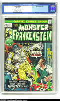 """Bronze Age (1970-1979):Horror, Frankenstein #1 (Marvel, 1973) CGC NM 9.4 Off-white to white pages.Mike Ploog cover and art. CGC notes, """"'Best of Luck Ploo..."""