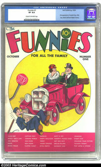 Funnies #1 (Dell, 1936) CGC VF 8.0 Cream to off-white pages. First appearance of Captain Easy. An early comic appearance...