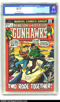 Bronze Age (1970-1979):Western, Gunhawks #1 (Marvel, 1972) CGC NM+ 9.6 Off-white pages. Marvel returns to westerns here, with art by Syd Shores. Currently, ...
