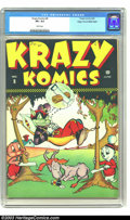 Golden Age (1938-1955):Funny Animal, Krazy Komics #8 Mile High pedigree (Timely, 1943) CGC VF+ 8.5 Whitepages. Highest grade yet certified by CGC for this issue...