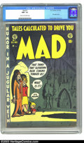 Golden Age (1938-1955):Humor, Mad #1 (EC, 1952) CGC NM- 9.2 Cream to off-white pages. First satire comic. Wally Wood, Elder and Davis art. Bill Gaines sta...