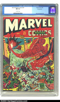 Marvel Mystery Comics #47 Pennsylvania pedigree (Timely, 1943) CGC NM 9.4 Off-white pages. Alex Schomburg cover. Tied wi...