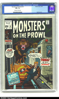 Monsters on the Prowl #13 (Marvel, 1971) CGC NM+ 9.6 Off-white to white pages. Syd Shores and Jack Kirby art. Highest-gr...