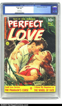 Perfect Love #3 (Ziff-Davis, 1951) CGC VF+ 8.5 Off-white pages. Painted cover. Overstreet 2003 VF 8.0 value = $60; VF/NM...