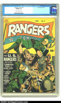Golden Age (1938-1955):War, Rangers Comics #9 (Fiction House, 1943) CGC VF/NM 9.0 Cream tooff-white pages. Zolnerowich cover. Tuska and Lubbers art. Ba...