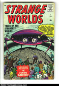 Silver Age (1956-1969):Science Fiction, Strange Worlds #1 (Marvel, 1958) Condition: VG-. Jack Kirby flying saucer cover. Kirby, Steve Ditko, and Don Heck art. One-i...