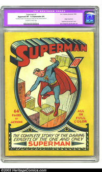 Superman #1 (DC, 1939) CGC Apparent VF- 7.5 Extensive (P) Off-white to white pages. Considered the fourth most valuable...