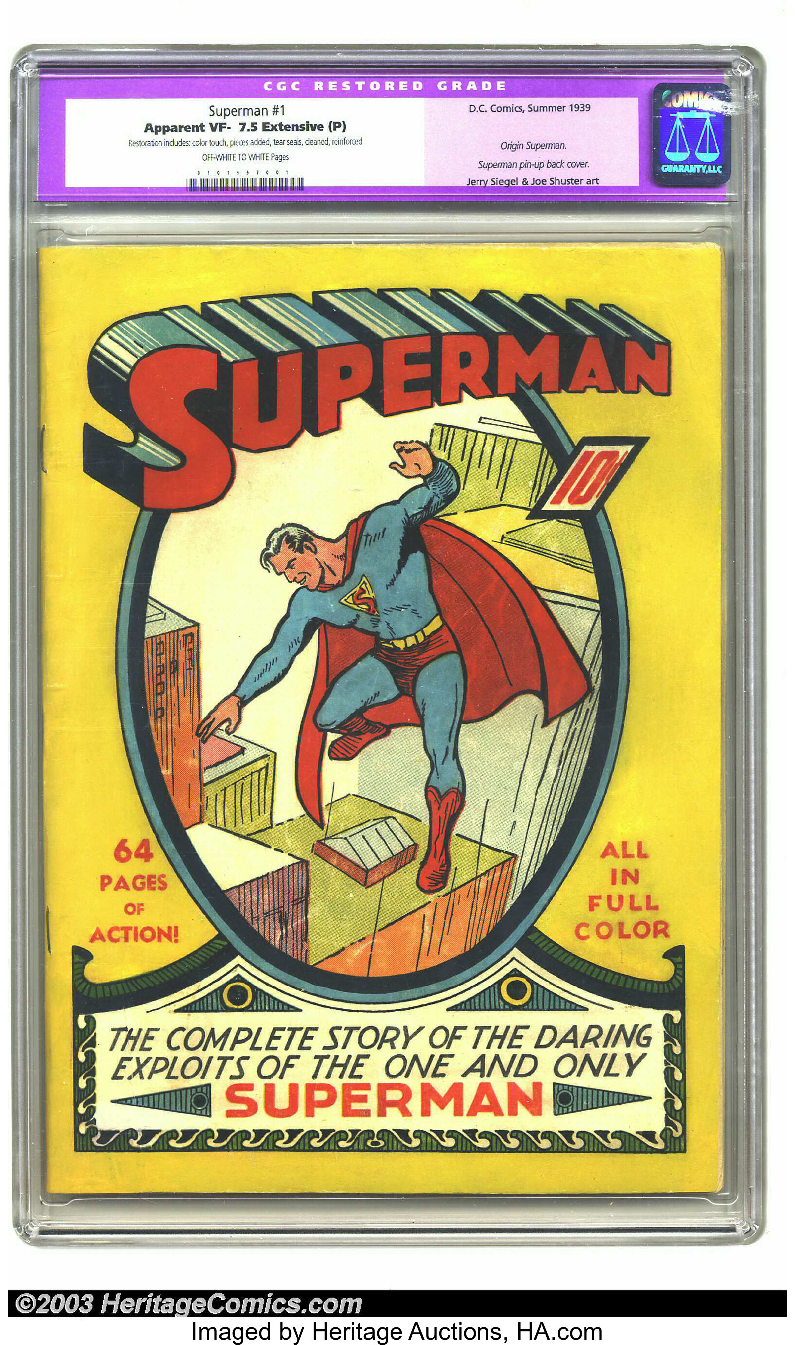Superman #1 (DC, 1939) CGC Apparent VF- 7 5 Extensive (P