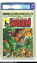 """Bronze Age (1970-1979):Science Fiction, Supernatural Thrillers #3 (Marvel, 1973) CGC NM+ 9.6 Off-whitepages. Adapts Robert E. Howard's """"The Valley of the Worm"""" by ..."""