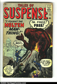 Tales of Suspense #7 (Marvel, 1960) Condition: VG-. Kirby cover. Kirby, Ditko, and Heck art. Prototype issue (Lava Man)...