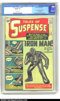 Tales of Suspense #39 (Marvel, 1963) CGC FN/VF 7.0 Off-white pages. Origin and first appearance of Iron Man. Art is by D...