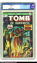 Bronze Age (1970-1979):Horror, Tomb Of Darkness #11(Marvel, 1974) CGC NM 9.4 Off-white pages.Kirby art. Overstreet 2003 NM 9.4 value = $14. ...