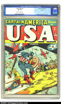 USA Comics #8 Chicago pedigree (Timely, 1943) CGC VF 8.0 Off-white to white pages. A classic example of World War II Cap...