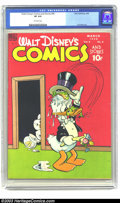 Golden Age (1938-1955):Cartoon Character, Walt Disney's Comics and Stories #90 (Dell, 1948) CGC VF 8.0Off-white pages. Carl Barks art. Goofy and Agnes appearance. Hi...