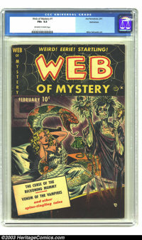 Web of Mystery #1 Bethlehem pedigree (Ace, 1951) CGC FN+ 6.5 Off-white to white pages. Here's a wild voodoo cover, with...