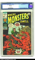 Bronze Age (1970-1979):Horror, Where Monsters Dwell #8 (Marvel, 1971) CGC NM 9.4 Off-white pages.Kirby and Ditko art. Overstreet 2003 NM 9.4 value = $24....