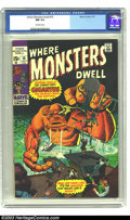 Bronze Age (1970-1979):Horror, Where Monsters Dwell #10 (Marvel, 1971) CGC NM 9.4 Off-white pages.Ditko and Kirby art. Overstreet 2003 NM 9.4 value = $24....