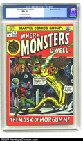 Bronze Age (1970-1979):Horror, Where Monsters Dwell #18 (Marvel, 1972) CGC NM +9.6 Off-whitepages. Jim Starlin cover, Overstreet 2003 NM +9.6 value = $30....