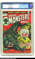 Bronze Age (1970-1979):Horror, Where Monsters Dwell #21 (Marvel, 1973) CGC NM+9.6 Off-white pages.Kirby art. Overstreet 2003 NM+9.6 value + $14....