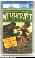 """Golden Age (1938-1955):Horror, Witchcraft #5 (Avon, 1953) CGC VG+ 4.5 Cream to off-white pages.Kelly Freas painted cover. CGC notes, """"Piece out of margin ..."""